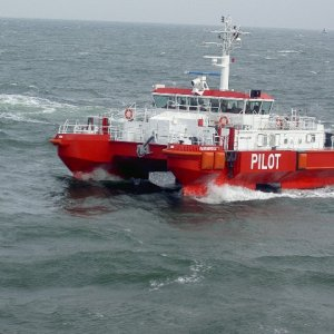 Pilot tender off the Elbe