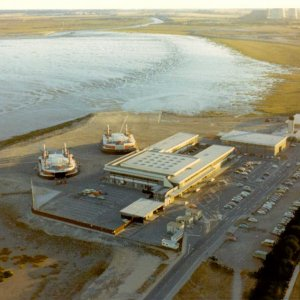 Aerial view of Hoverlloyd hovercraft at Pegwell Bay