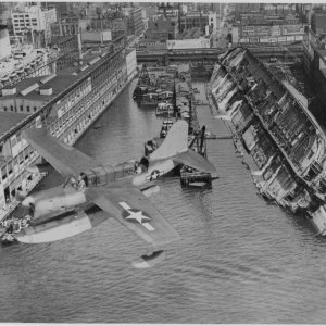SS Normandie sunk at the Pier
