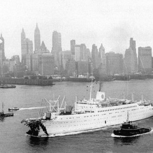 MV Stockholm entering harbor after collision with Andrea Doria