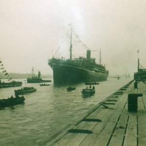 Tilbury landing stage and Mongolia  - P and O liner. 16th May 1930.