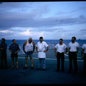 RFA GOLD ROVER 1992 lads on Flight deck