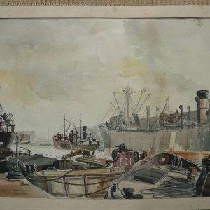 Watercolour Manchester Docks 1946