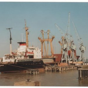 Russian ship on Imperial Wharf  Northfleet  June  1989