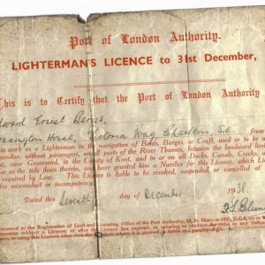 My Granddads lighterman's Licence