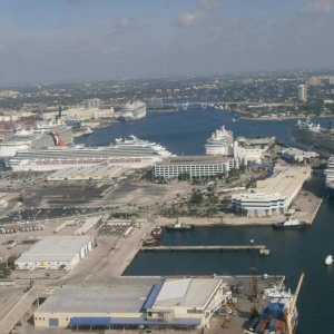Aerial view of Port Everglades.