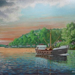 HERTA, leaving Truro ,on the River Fal-painting by frits