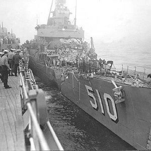 USS Eaton after collision with USS Wisconsin