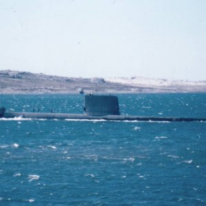 A Submarine in Port Stanley 1983, name unknown.
