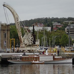 Steam Yacht Preana and steam crane Hobart  2011