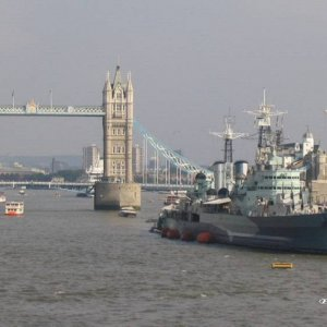 Tower Bridge and Cruiser = Belfast