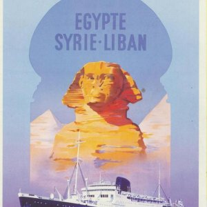 Messageries Maritimes-Line to Middle East-Artist Poster
