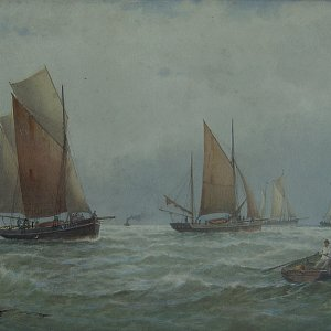 G.S. WALTERS painting watercolour  Yamouth luggers.