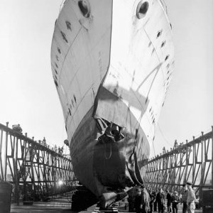 HMCS Assiniboine in drydock after collision Oct 1942