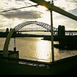 Sydney Harbour Bridge from Walsh Bay.