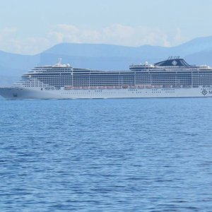 MSC Divinia enroute to Dubrovnik in the Ionian Sea in mid-late September 20
