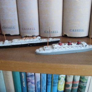 Dinky Toys models of Queen of Bermuda and Britannic