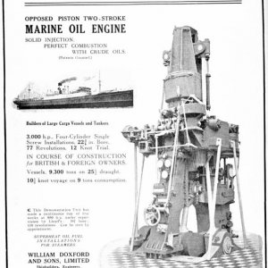 The first Doxford opposed piston oil engine.