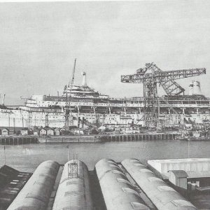 canberra being built at belfast harland and wolff.