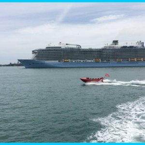 Ovation of the Seas at Anchor, Waitemata Harbour. Auckland