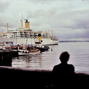 Oronsay alongside in Auckland