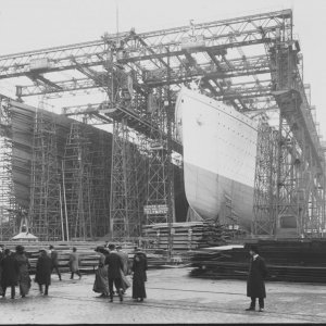 RMS Titanic and Olympic on the slips