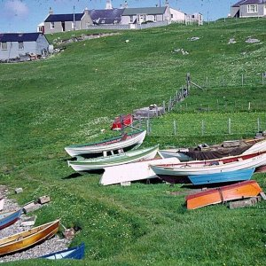 "View of small boat in ""noost2 at Hamnavoe, Burra Isle, Shetland"
