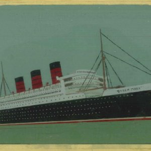 Queen Mary paint on glass
