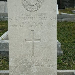 HMS Exeter , 1940 crew grave on Falkland Islands