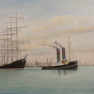 Steam tug Schelde towing Potosi