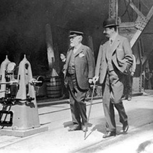 Bruce Ismay and Lord Pirrie inspecting Titanic 31dstMay 1911