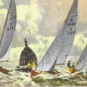 ROUNDING THE BUOY-Enterprise dinghies in the Solent