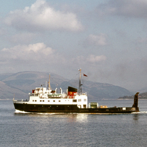 MV Arran departs Gourock for Dunoon. 17.5.77 David Christie Flickriver.png