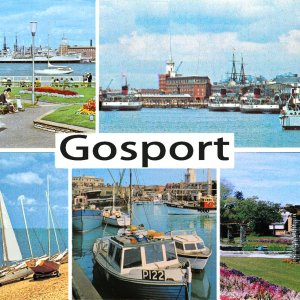 Gosport 1970's postcard, with IOW ferries, MV's 'Shanklin', 'Southsea' and 'Brading'