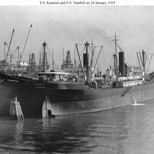ss kamesit 24 January 1919 alongside a sister, S.S. Yamhil at the yard of her builder, Moore S...jpg