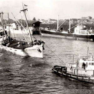 MEGREZ-N, Leixoes February 1963 - while moored alongside - hit by a tug with a barge (2).png