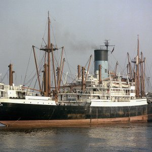 EUMAEUS arriving Liverpool 15th May 1977 by Malcolm Cranfield.JPG