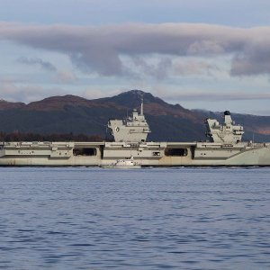 HMS QUEEN ELIZABETH,AND HMS RAIDER ON THE CLYDE 15TH MARCH 2021