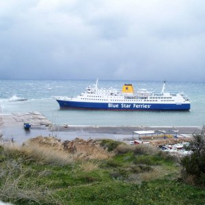 """Superferry II"" in Rafina in very bad weather"