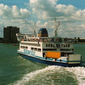 ST. CATHERINE leaves Portsmouth in August 1988